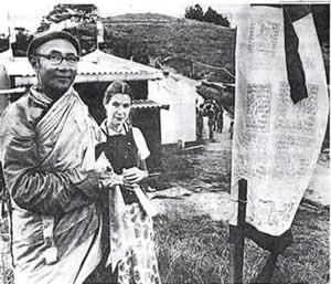 New Zealand newspaper photo of Rinpoche at temple opening ceremony, 1978